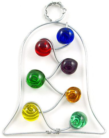 wire beaded ornament | : Beaded wire bell tree ornament, beaded Christmas ornaments, beaded ...