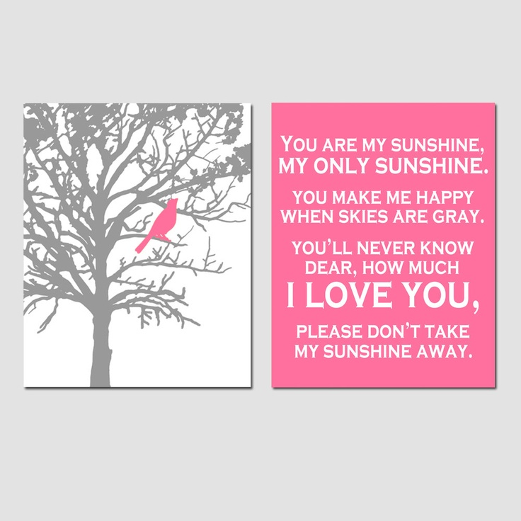 Set of Two 8 x 10 Prints - You Are My Sunshine and Bird In a Tree - Gray, Pink, Yellow, Black, Red, and More - Modern Nursery Art. $39.50, via Etsy.