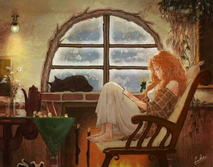 I love this artwork; I feel like it somewhat captures my own self too... the red wavy hair, reading a book, the snuggly kitty