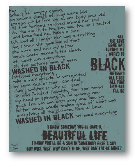 Black / Pearl Jam / Lyric / DIGITAL Typography Poster / Printable