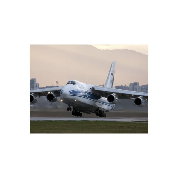 An Antonov An-124 Aircraft Taking Off from Sofia Airport, Bulgaria... ($40) ❤ liked on Polyvore featuring home, home decor, wall art, photographic wall art, interior wall decor, mounted wall art and photography wall art