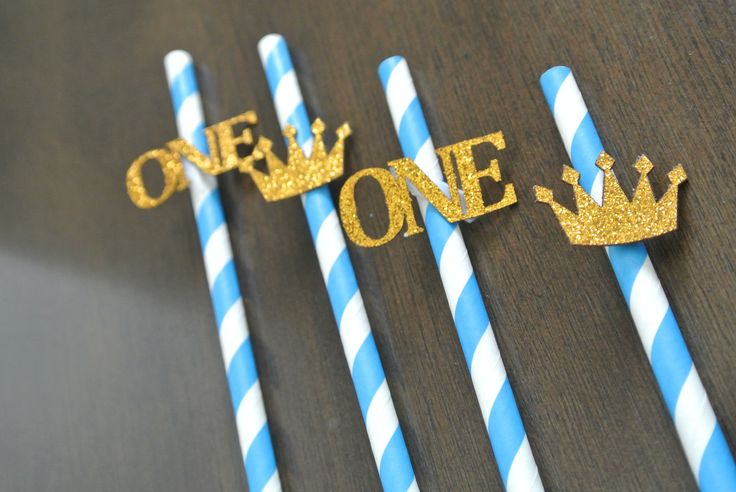Blue and White First Birthday Straws. Royal Blue. Royal Prince Birthday. READY TO SHIP. By Paper Rabbit on Etsy by PaperRabbit87 on Etsy