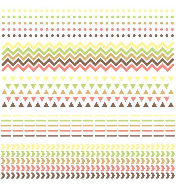 Digitale Scrapbook grenzen / / Chevron driehoeken Dots streepjes pijlen / / pijl patroon / / Native American / / bruin oranje roze geel groen