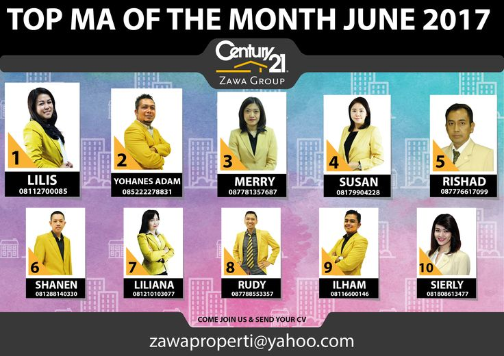 "TOP MA OF THE MONTH CENTURY 21 ZAWA GROUP ""JUNE 2017"""