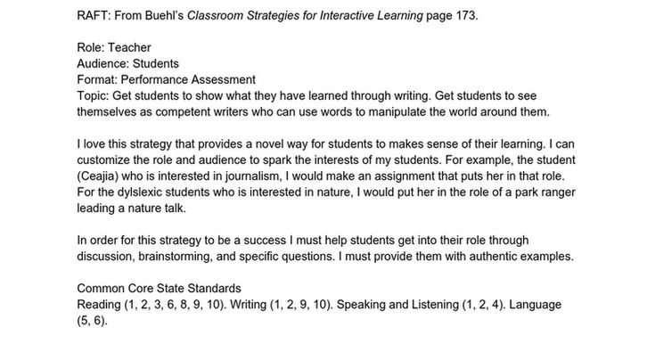 RAFT From Buehlu0027s Classroom Strategies for Interactive Learning - performance assessment