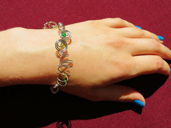 Shaped Wire Bracelet  Green and Yellow Glass by ofRingAndScale