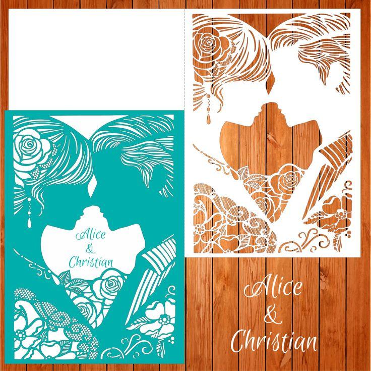 Invitación de la boda tarjeta plantilla pareja, enamorados, figuras, romántico (ai, eps, svg) lasercut descarga inmediata de thehousedesigns en Etsy