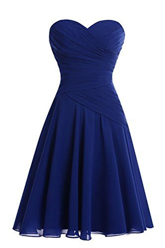 Bess Bridal Women´s Short Sweetheart Ruched Chiffon Bridesmaid Dress Royal Blue Bess Bridal