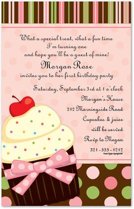 Sweet Pink Cupcake Baby Shower Invitations, 28293