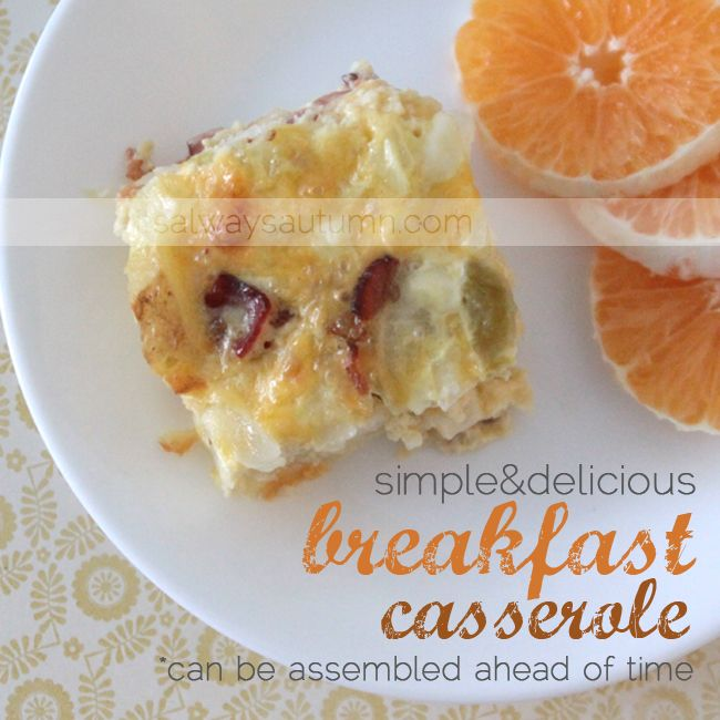 EASY BREAKFAST CASSEROLE RECIPE   this is a great #breakfast #casserole #recipe - you can put it all together the night before and pop in the oven for a super simple and delicious breakfast or brunch. eggs, cheese, hash browns, meat, etc - yum.