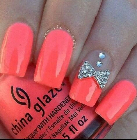 208 best nail ideas images on pinterest nail design nail art bright coral nail polish with rhinestone buttons and rhinestone bowtie cute prinsesfo Gallery