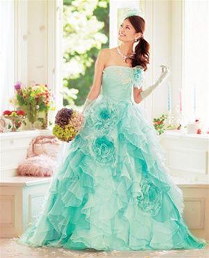 Aqua Wedding Dress would never wear it but cute