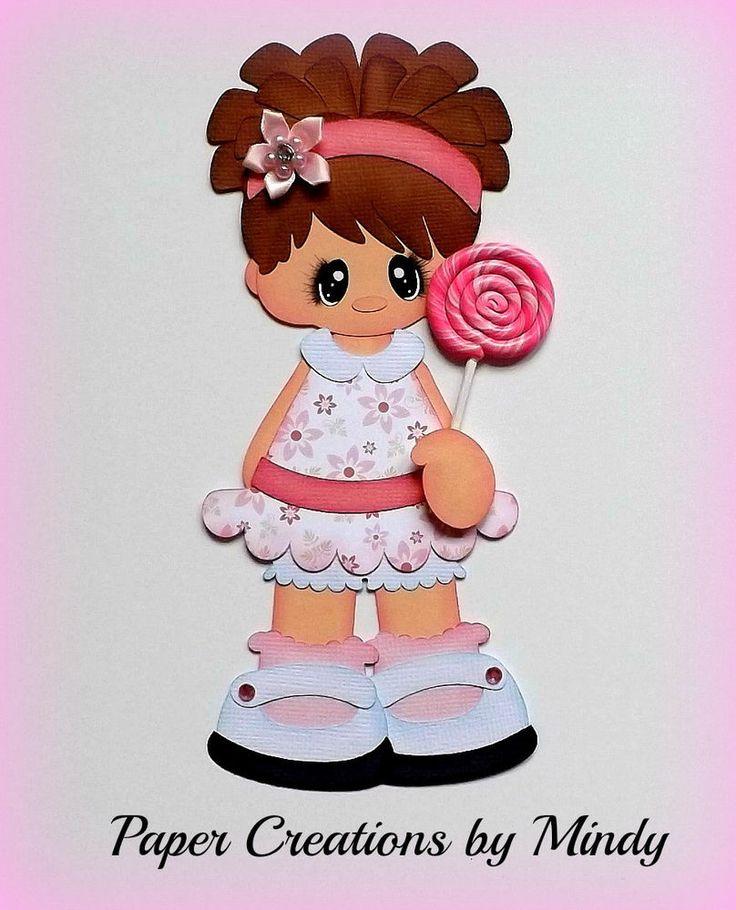 ELITE4U lollipop girl kids pink premade paper piecing scrapbooking page album  ~DT Mindy