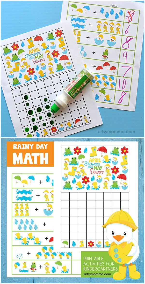 Rainy Day Addition and Graphing Printables for Kindergartners
