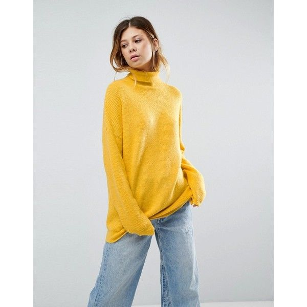 ASOS Jumper in Fluffy Yarn and Roll Neck (60 AUD) ❤ liked on Polyvore featuring tops, sweaters, yellow, yellow sweater, acrylic sweater, oversized tops, party jumpers and party sweaters