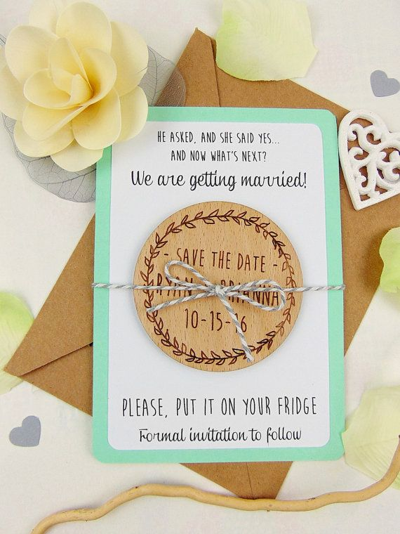 Wreath Save the Date with Backing Paper, Custom Save the Date Magnet, Wood Save the Date, Wedding Save the Date, Laser Cut Save the Date