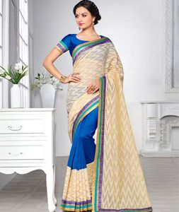 Buy Beige Silk Brasso Saree With Blouse 74919 with blouse online at lowest price…