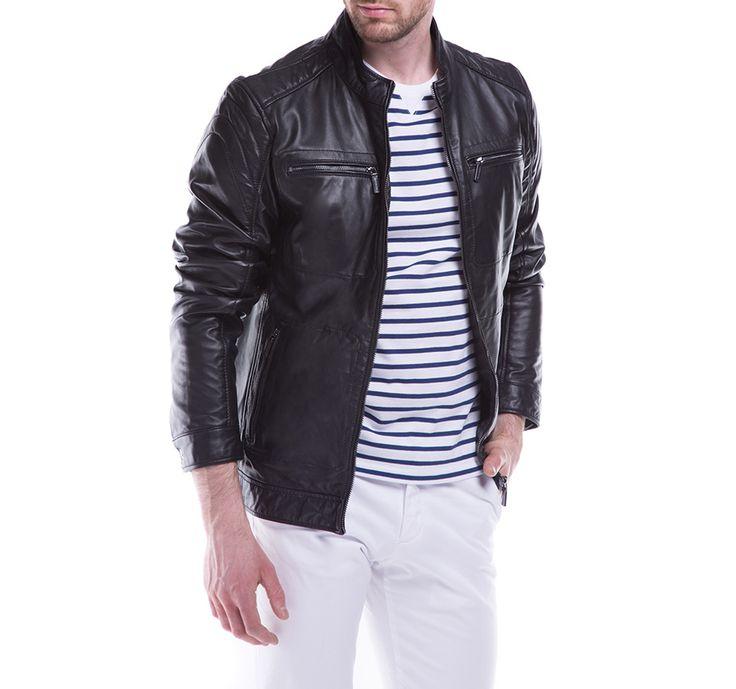 Skórzana kurtka męska WITTCHEN w klasycznej czerni.