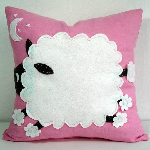 Sukan / Hand Embroidered - Sheep Linen Pillow Cover - 16x16 inch - Pink, White, Brown Color