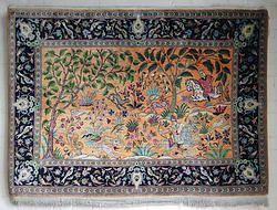 100% Silk Qum carpet, depicting a traditional hunting scene 1.58M x 1.10M
