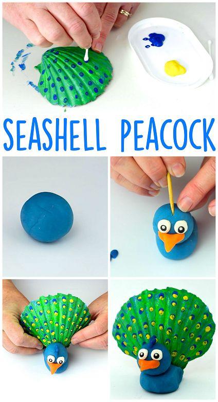 DIY Craft: Seashell Peacock Craft for Kids using Playdough