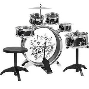 BestChoiceproducts Kids Drum Set Kids Toy with Cymbals Stands Throne Black Silver Boys Toy Drum Kit