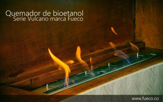 Quemador marca #Fueco serie Vulcano empotrado en nicho de hierro  oxidado. #bioetanol,  #chimeneas,  #ecologicas