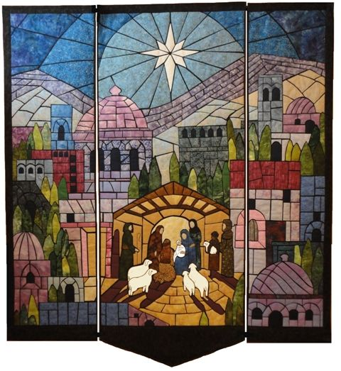 God So Loved the World, nativity wall hanging, designed the pattern, made two, sold all copies of the pattern!