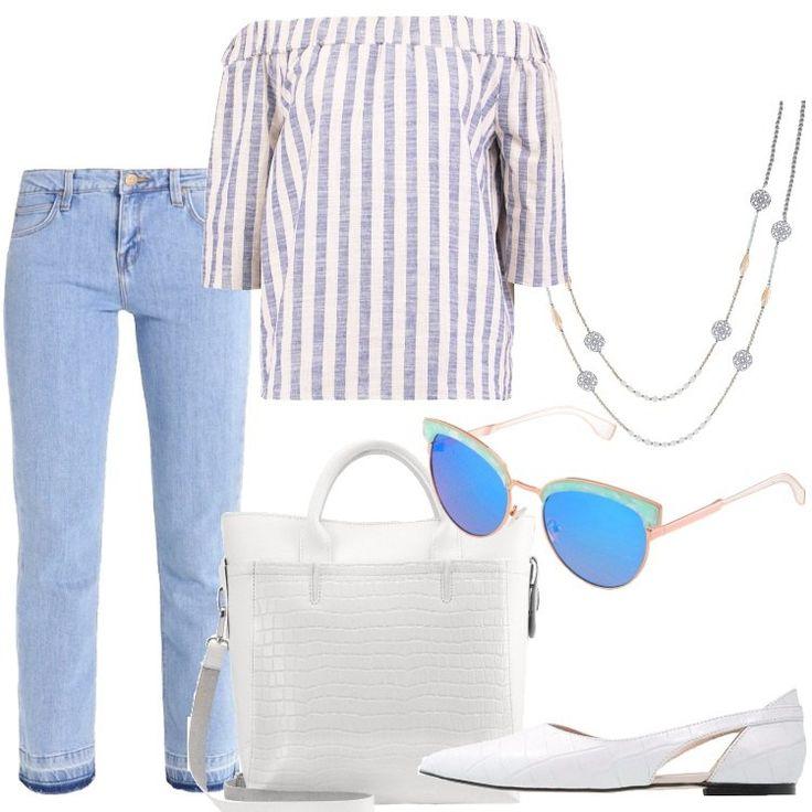 Jeans bootcut chiari con frange all'altezza delle caviglie, camicetta in cotone a righe bianche e azzurre e con maniche tre quarti che lascia le spalle scoperte. Da indossare anche dentro ai pantaloni per essere un po' più chic; borsa in pelle bianca con stampa a coccodrillo. Stesso motivo e colore anche per le scarpe, basse. Occhiali da sole con montatura e lenti bianco e azzurro e collana, lunga, in metallo e vetro.