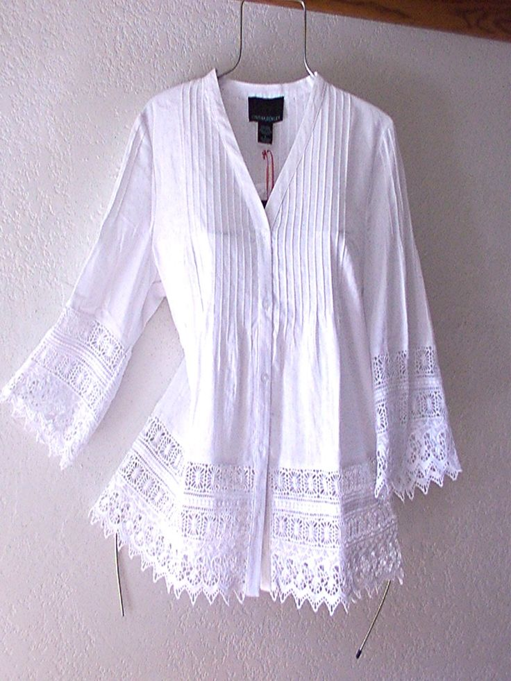 White Crochet Vintage Lace Linen Peasant Blouse Boho Shirt Top~12