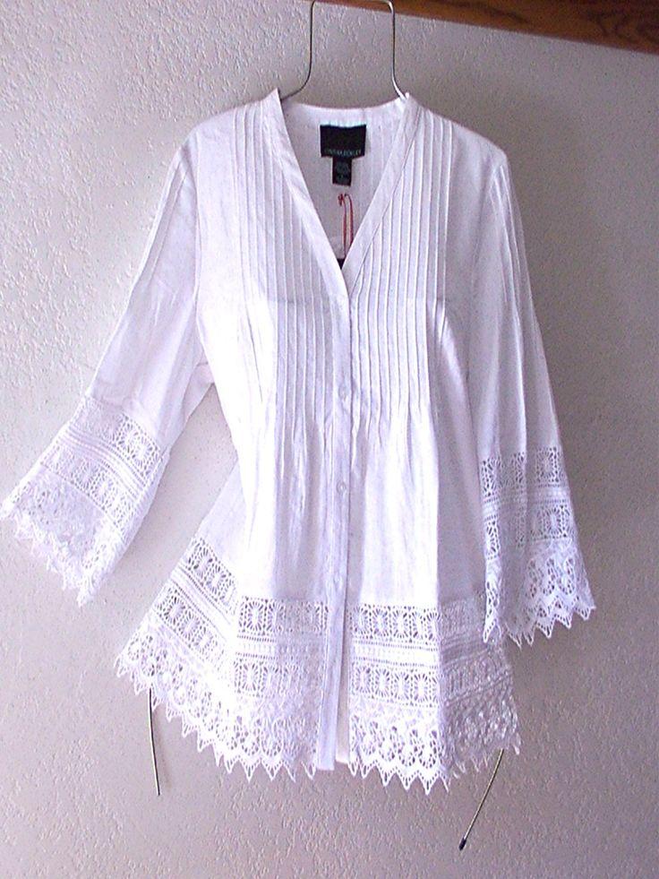 White Crochet Vintage Lace Linen Peasant Blouse Boho Shirt Top~12
