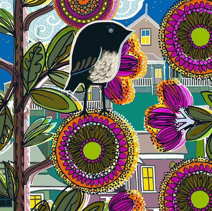 Night Garden. Limited edition of 50.  Lightfast print on 300gsm fine art paper by Jane Galloway http://www.palmprints.co.nz/night-garden-c-590.html