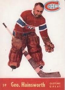 George Hainsworth 1955-56 Quaker Oats  Il joue pendant quatorze saisons au niveau professionnel et fait ses débuts dans la Ligue nationale de hockey à l'âge de 31 ans. Il remporte au cours de sa carrière la Coupe Stanley de l'équipe championne de la LNH mais également le trophée Vézina du meilleur gardien de la LNH. Il met fin à sa carrière en 1936 après avoir décroché plusieurs records, notamment au niveau des blanchissages. En 1961, il devient membre du Temple de la renommée.