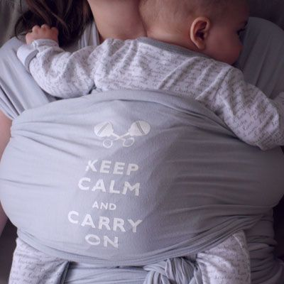 "Babywearing, Little D's baby carriers ""keep calm and carry on"" in grey."