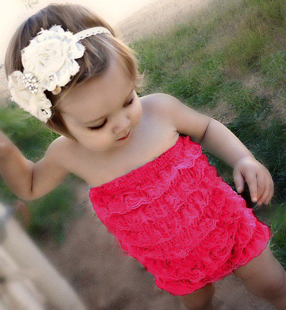 I love little girl rompers! not to mention this head band!:)