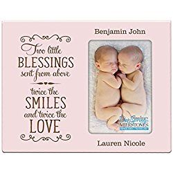 Personalized New baby gifts for twins picture frame for boys and girls Custom engraved photo frame for new parents nana,mimi and grandparents (Pink)