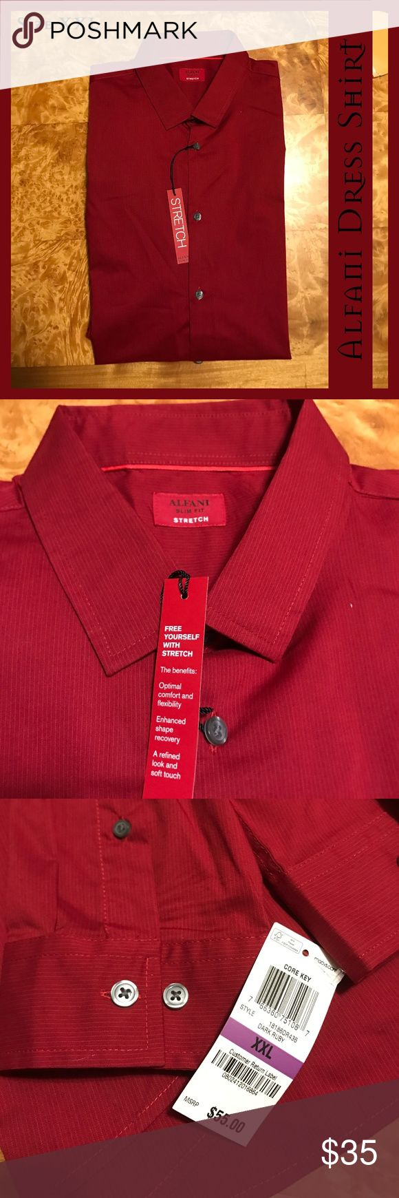 Alfani Mens Red Dress Shirt Stretch NWT XXL This is a brand new Alfani dress shirt from Macy's. It has a faint pinstripe running vertical and a little stretch to it to provide a more comfortable fit.  From a smoke-free and happy-to-bundle closet.   No trades or transactions outside of Poshmark. [N349] Alfani Shirts Dress Shirts