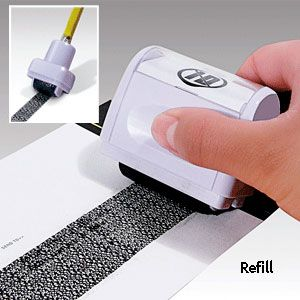 Roller Stamp ID Guard Refill (Set Of 3) - The stamp is designed with a special pattern to hide confidential information printed beneath. Use to hide your address, social security number, account number or ID number on junk mail, bills and more. (Product Number JB6459) $9.98 CAD