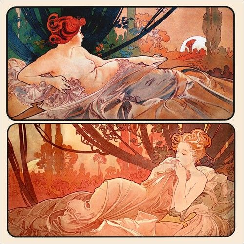 Dusk and Dawn (1899) by Alphonse Mucha