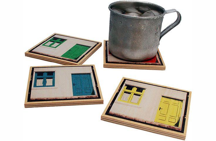 Flox 'Polaroid Doors' Wooden Coasters