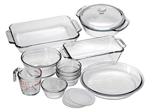 """Set contains: (1) 2-quart bake dish, (1) 1.5-quart casserole with glass cover, (1) 1.5-quart loaf dish, (1) 1-quart mixing bowl, (1) 9"""" pie dish, (1) 8-ounce measuring cup, (4) 6-ounce custard cups with lids Anchor Glass bakeware is tempered for maximum durability and features an industry-leading 5 year warranty Anchor Glass is a healthier choice over metal bakeware; glass does not warp, stain, retain smells, or leach chemicals into food"""
