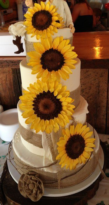 Country Burlap Sunflower Wedding Cake | Rustic Sunflower Wedding   By  Smokwa @ CakesDecor.com