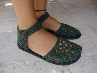 ... Recriando Artes Manuais ...: Sapato de crochê - verde!