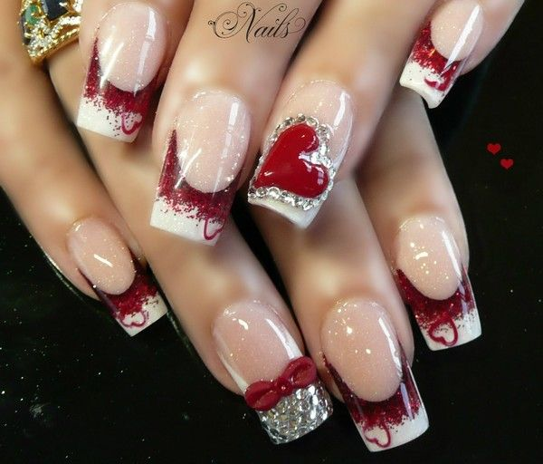valentine's day acrylic nails