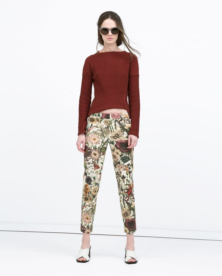 Image 1 of FLORAL PRINT TROUSERS from Zara $69 http://www.zara.com/us/en/woman/trousers/floral-print-trousers-c358005p2554542.html