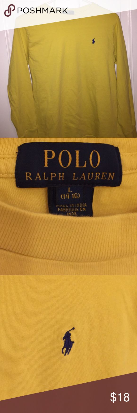 Yellow Long-Sleeve Polo Shirt by Ralph Lauren Only been worn twice! It's a boys yellow t-shirt from the Polo Ralph Lauren Outlet in Lee, MA. Great quality with no stains or other damages. Leave a comment if you have a question. Polo by Ralph Lauren Shirts & Tops Tees - Long Sleeve