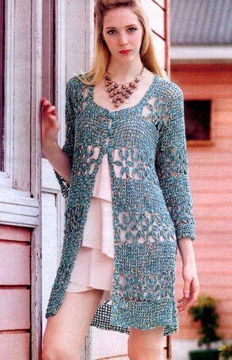 Длинный жакет «Ностальгия». Модели для женщин, связанные крючком Crochét long sweater pattern