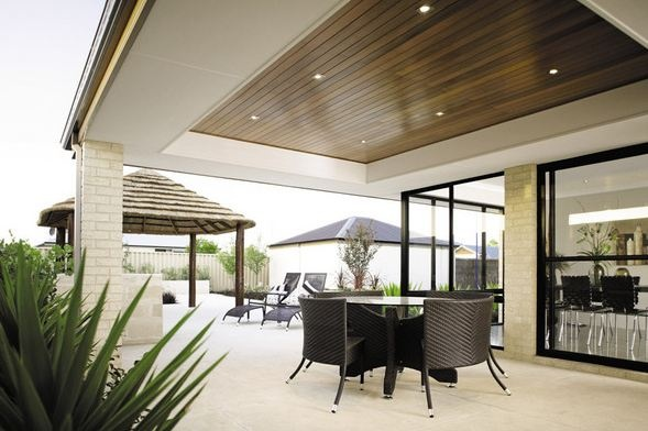 Stained wood ceilings define the space outdoor living for Definition for balcony