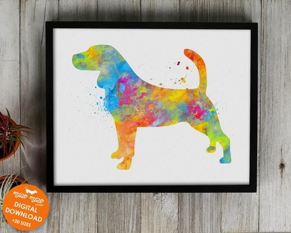 Beagle Print Watercolor Art Printable Dog Poster Dog Painting