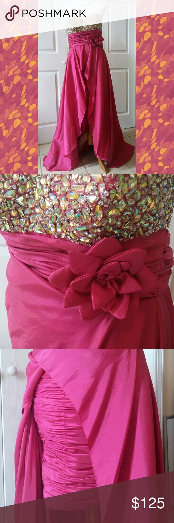 """Gorgeous gown Beautiful strapless tafetta formal dress with jeweled bodice and wrap. Short ruched skirt with long detachable overlaid skirt. Skirt is 19"""" from waist. Over-skirt is 44"""" from waist to end of train. Wrap is 76""""x18"""". Tag says to only spot clean - do not dry clean. Panoply Dresses Strapless"""